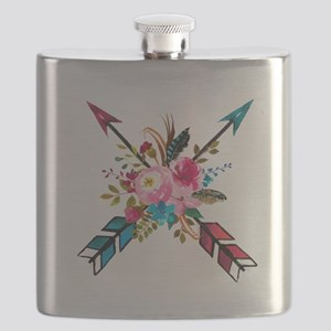 Watercolor Floral Arrow Bouquet Flask